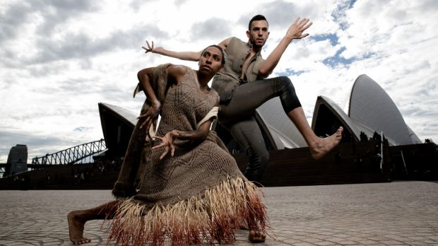 Yolanda Lowatta and Kaine Sultan-Babij prepare for Bangarra Dance Theatre's 'Bennelong'.