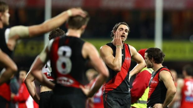 Hard to swallow: Joe Daniher of the Bombers looks dejected after the siren.