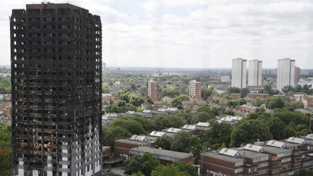Some of the cladding on the Brunswick apartments is the same as that which was used on London's Grenfell Tower