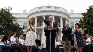 US President Donald Trump, centre,   at the Congressional Picnic on the South Lawn of the White House earlier this month.