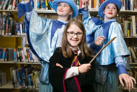 Audrey Ormella, Aoife Brazil and Madeleine Albany celebrate the 20th anniversary of Harry Potter in Sydney.