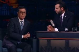 Fake news? Stephen Colbert considers a run at the US presidency on Russian TV.