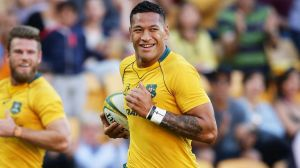 Triple double: Israel Folau scored two tries for his third consecutive international match.