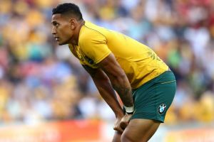 BRISBANE, AUSTRALIA - JUNE 24: Israel Folau of the Wallabies looks on during the International Test match between the ...