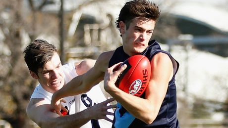 Patrick Naish in action during the Under-18 Championships match between Vic Metro and Vic Country at Punt Road Oval on ...