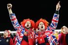 AUCKLAND, NEW ZEALAND - JUNE 24: Lions fans sing prior to the first test match between the New Zealand All Blacks and ...