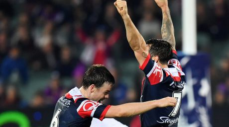 Party time: Pearce celebrates as his field goal sails over.