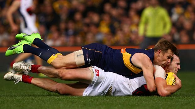 Melbourne's Cameron Pedersen claims a mark despite the best efforts of West Coast's Sam Mitchell.