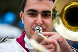 Mikhael Touma is seen playing with the Syrian Youth Marching Band, all recently arrived refugees, during its first ever ...