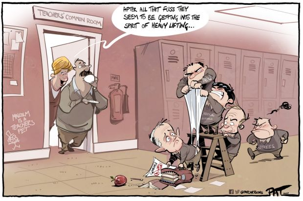 The Canberra Times editorial cartoon for Monday, June 27, 2017. Gonski. Teachers common room - 'After all that fuss, ...