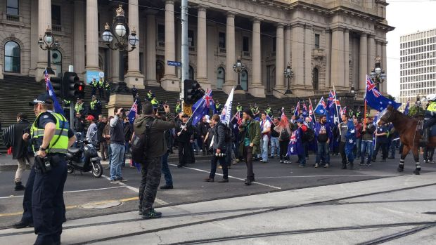 Protesters gather at Parliament House.