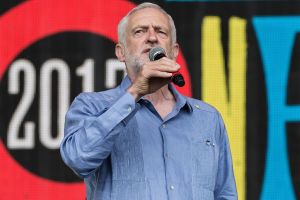Jeremy Corbyn speaks to the crowd at the Glastonbury Festival.