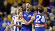 MELBOURNE, AUSTRALIA - JUNE 24: Matthew Suckling and Shane Biggs of the Bulldogs (right) celebrate during the 2017 AFL ...