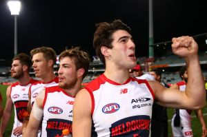 Christian Petracca, celebrating after beating the Eagles, is one of a long list of versatile midfielders and utility ...