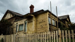 The ramshackle residence in Essendon where a woman was trapped for days under the floor.