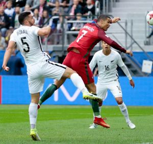 Nodding home: Portugal's Cristiano Ronaldo in action against the All Whites.