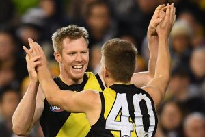 Tails up: Richmond's Jack Riewoldt and Dan Butler.