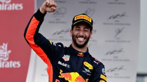 Daniel Ricciardo on the podium for Red Bull Racing after winning the Azerbaijan Formula One Grand Prix at Baku City ...