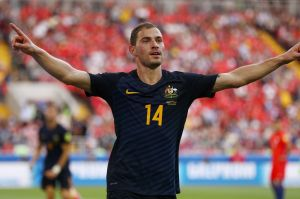 James Troisi celebrates after his goal against Chile in the Confederations Cup.