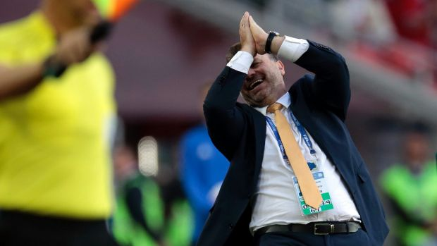 Socceroos coach Ange Postecoglou reacts during the match against Chile.