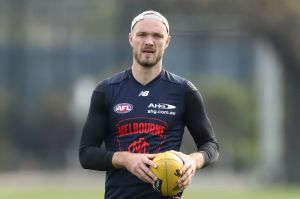 Max Gawn of the Demons at a training session at Gosch's Paddock.