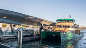 The new Fred Hollows ferry was the first to arrive at the Barangaroo wharf.