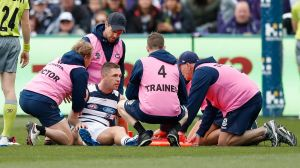 GEELONG, AUSTRALIA - JUNE 25: Joel Selwood of the Cats is seen injured after a heavy hit during the 2017 AFL round 14 ...