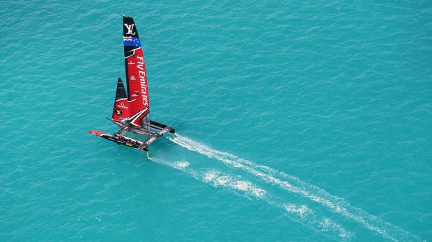 Photo provided by America's Cup Events Authority shows the Kiwis during an America's race against the USA in Hamilton, ...