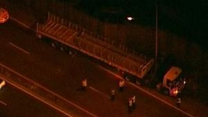 The truck on the M1 after it rolled over the driver on Tuesday morning.