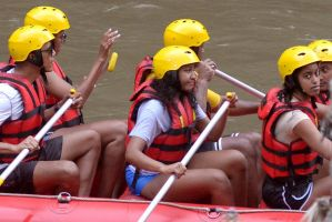 The Obama clan enjoy some family bonding on the Ayung River in Badung, Bali.