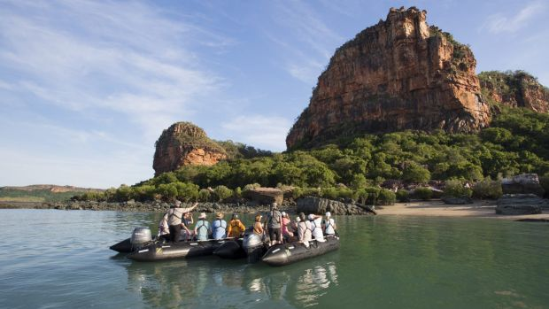 Tourists on board the Silversea Zodiac take a look around the Kimberley.