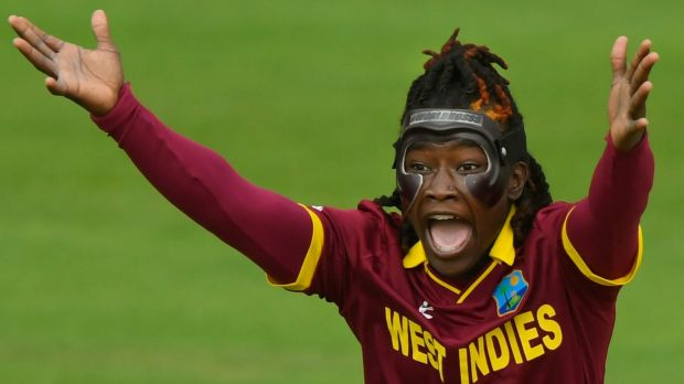 A masked Deandra Dottin of the West Indies appeals for a wicket during the ICC Women's World Cup 2017 match between ...