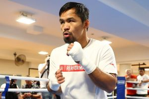 Ready: Manny Pacquiao trains at the Police and Citizens Youth Club gym on Tuesday.