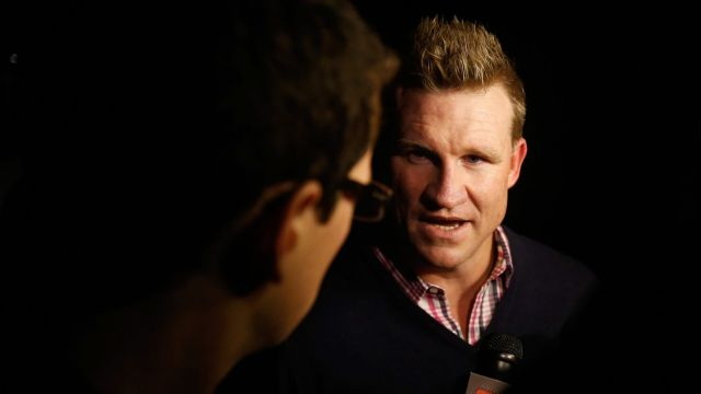 Collingwood coach Nathan Buckley arrives at a previous dinner with Gillon McLachlan. Funnily enough he was door-stopped