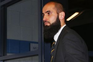 Bachar Houli of the Richmond Tigers arrives at the AFL tribunal.
