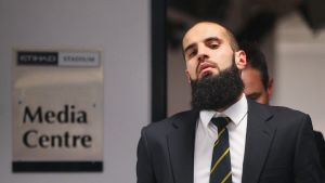 Bachar Houli of the Richmond Tigers leaves the AFL tribunal on receiving a two week suspension for striking Jed Lamb.