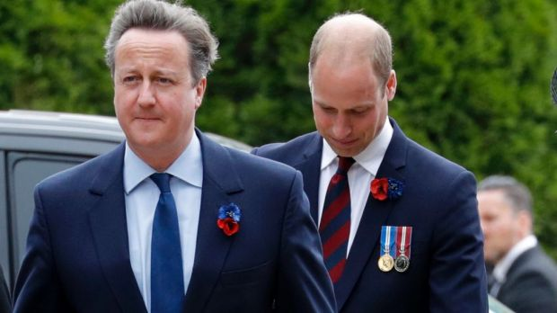 Former PM David Cameron with Prince William.