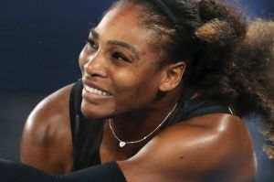 Serena Williams during the women's singles final at the 2017 Australian Open tennis championships in Melbourne.