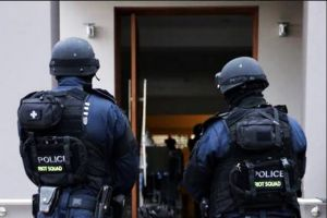 A man is arrested at his home in Canley Vale on Wednesday morning.