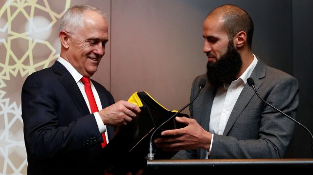 Prime Minister Malcolm Turnbull chats with Bachar Houli at an Eid celebration at Punt Road this week.