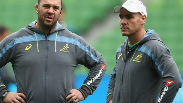 Coaching triumvirate: Michael Cheika (centre) with assistant coaches Stephen Larkham (left) and Nathan Grey.