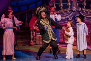 Todd McKenney as Captain Hook (centre) in the panto The Adventures of Peter Pan and Tinker Bell.
