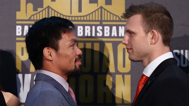 'Stay down': Jeff Horn, right, has received a warning from Manny Pacquiao's corner man before the Sunday fight at ...