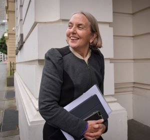 Senator Lee Rhiannon arrives at the Greens party room meeting in Melbourne.