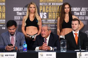 Distraction: Neither Manny Pacquiao nor Jeff Horn - seen here with Bob Arum - have been randomly tested by doping ...
