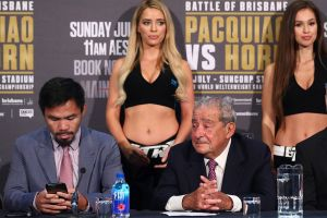 Fuming: Jeff Horn, far right, says the team of Manny Pacquiao, right, has been disrespectful.