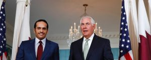 Secretary of State Rex Tillerson, right, meets with ?Qatari Foreign Minister Sheikh Mohammed bin Abdulrahman Al Thani, ...