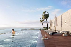 An artist's impression of the rooftop view from an approved 21-storey, mixed-used apartment tower in Gosford.