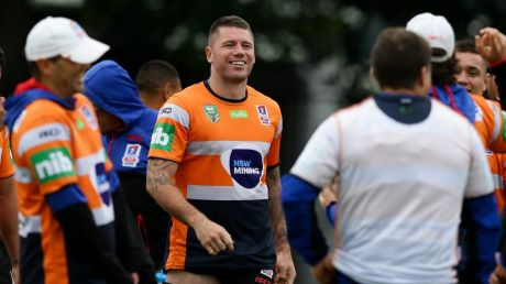 Second chance: Shaun Kenny-Dowall joins the Newcastle Knights at a training session on Wednesday.
