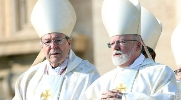 Cardinal George Pell (left) and Archbishop of Boston Cardinal Sean Patrick O'Malley attend the closing of the Jubilee of ...